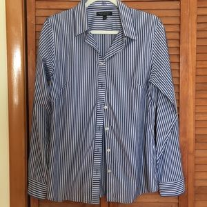 Blue and white striped ladies shirt